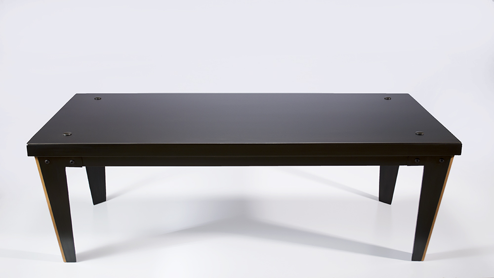Black Steel Coffee Table  Shown in all steel with Madrone inlay in legs.