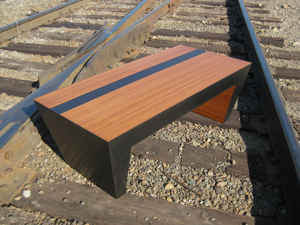 Bamboo Black Steel Stripe Coffee Table  Bamboo with steel inlay and frame.