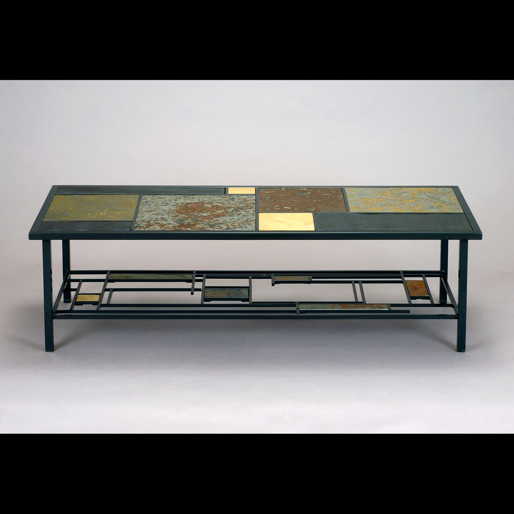 Custom Slate and Steel Coffee Table