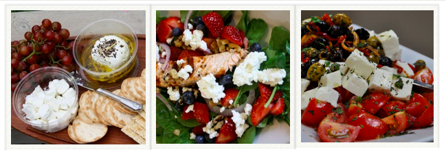 Enjoy our cheese on a cheese plate with slices of bread or as a ingredient in your favorite meal.  Above: (left) feta and marinated chevre on a cheese plate, (center) salmon, strawberry and spinach salad with fresh crumbled chevre, (right) feta salad with tomatoes, olives, and peppers