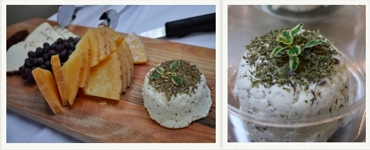Herbs de Provence Chevre - Classic dried herb chevre with lots of lovely lavender. Seen here with other local cheeses at a event supporting Ferry Beach Ecology School at Cinque Terra in Portland. Want to cook with it? Delicious in an omelet or used in a stuffed chicken breast.   $6.00