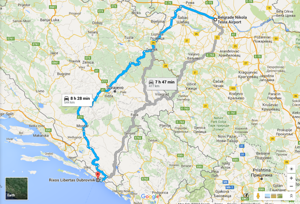 The routes pictured vary slightly from the accidental detours we ended up on along the way.