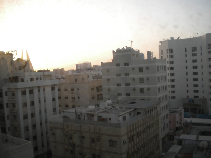 The view from my hotel room near the CBD in Manama. Those twin peaks (get it?) on the far left are the top of the World Trade Center.