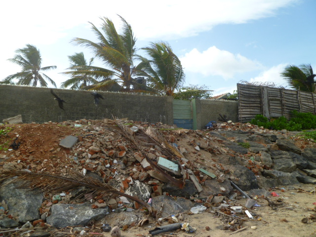 Rubble on the beach.