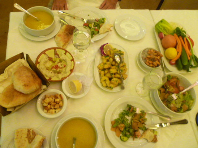 Lunch at Karam Beirut with all my Middle Eastern favorites: lentil soup, fattoush, hummus, fresh veggies, potatoes, and pita.