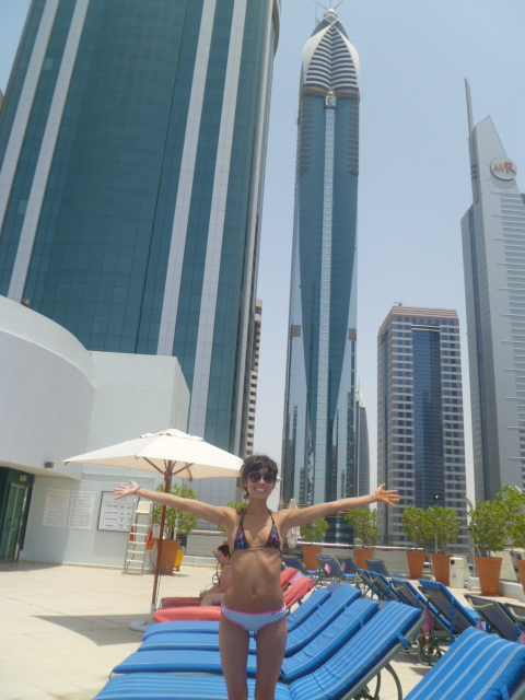Catching some rays on the pool terrace at the Towers Rotana.