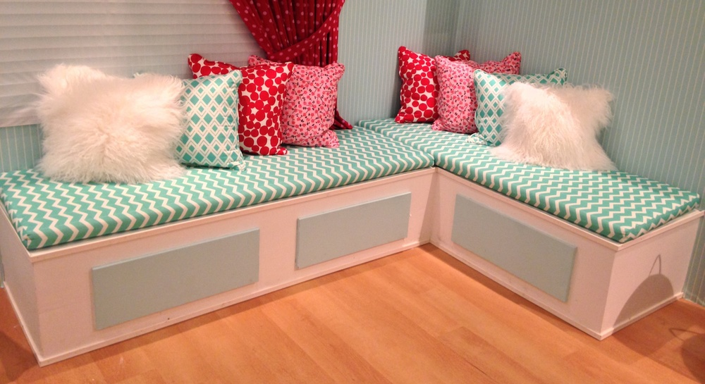 Storage bench custom built for a Baby Girl Nursery, at the Puerto Rico Designer's Home & Market Place 2013 event.