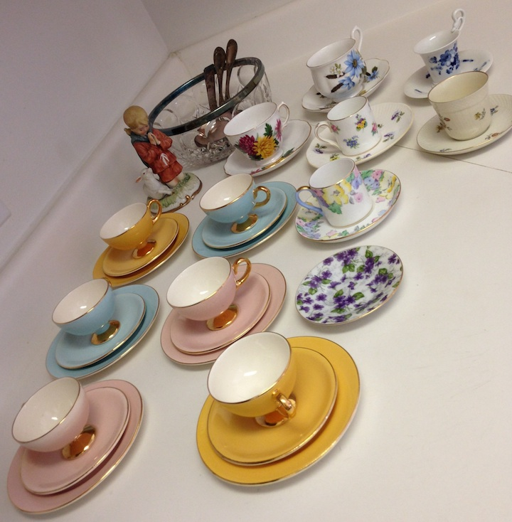 Some of the lovely tea cups and saucers we inherited from my husband's grandparents.