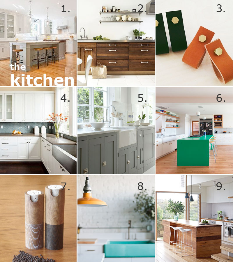 1. Different color cabinets + island, via Houzz. /  2. Rich cabinets, via Viciously Cyd. / 3. Leather drawer pulls, via Camp. / 4. White shaker cabinets, via Houzz. / 5. Beautiful grey shaker + cool hardware, via Greige Design. / 6. Big pop of gorgeous color, via Desire to Inspire. / 7. Salt + pepper, via Etsy. / 8. Pops of color, via Domaine Home. / 9. Love the contrast in textures, via Home Life.