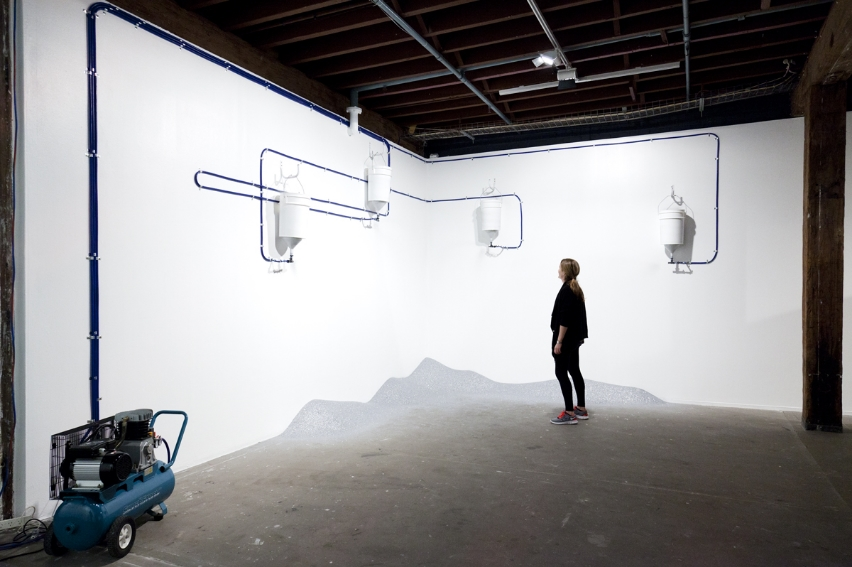 Persistent Optimism   2010/11  Glitter, air compressors, hose, fittings, buckets, funnels  Installation view: Artspace, Sydney