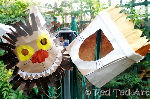 These paper bag masks from   Red Ted Art   are a great way to get kids involved in making their own costume.