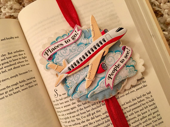 HANDCRAFTED BOOKMARKS, this one with a little wooden plane, lovely gift with a book AU$18.07