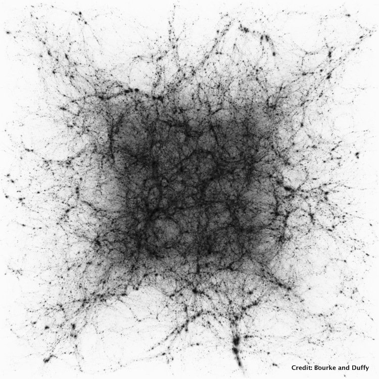 The Dark Matter in a simulation 600 million lightyears across. The Dark Matter forms filaments spanning the Universe, known as the Cosmic Web. Galaxies form in the intersection of these filaments, seen as spherical clumps or haloes. Credit: Bourke and Duffy