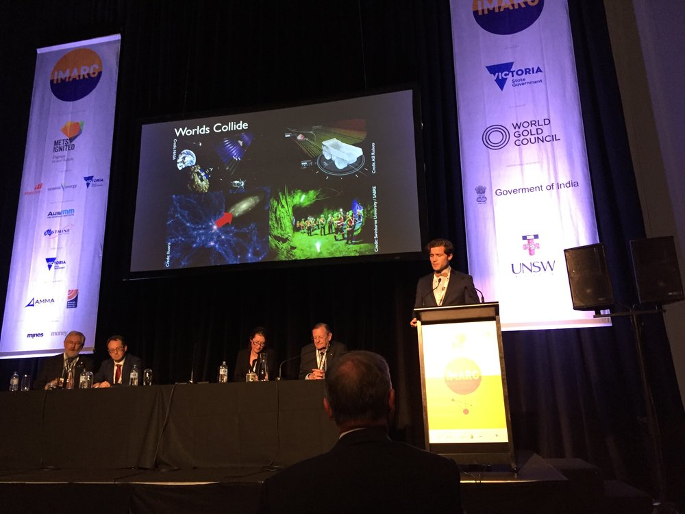 Space and the search for dark matter has surprising overlap with the resource and mining giants at IMARC, in particular muon tomography and asteroid mining.