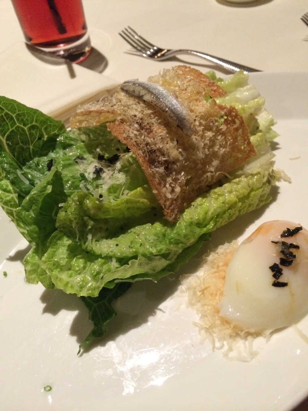 Furikake Caesar Salad - 65 degree egg, furikake, parmesan, garlic, caper anchovy dressing.   A nice salad I enjoyed thoroughly.