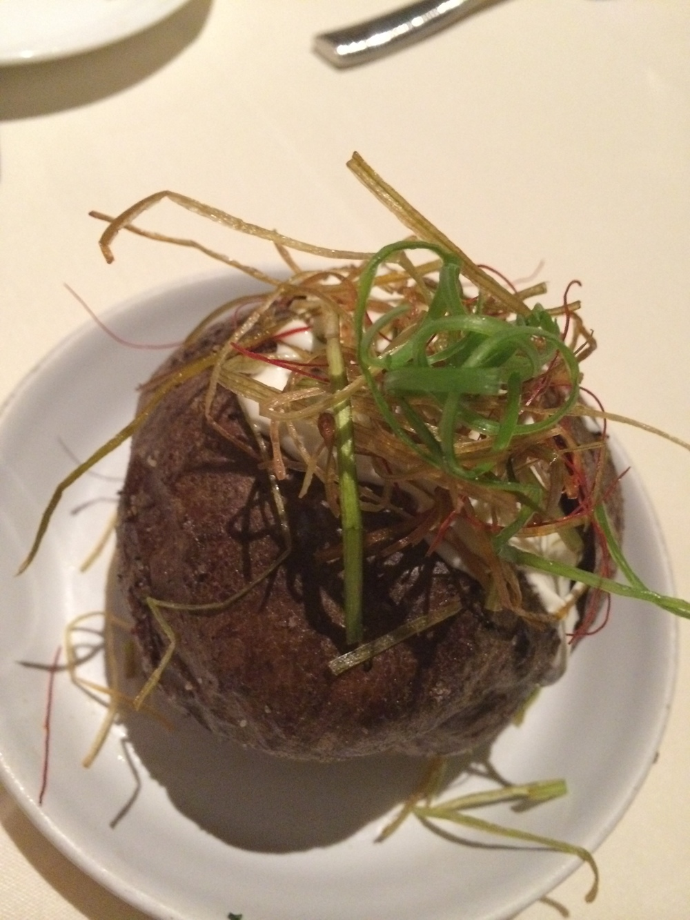 Baked Idaho potato.  I liked this as a counterpoint to all the rich truffle flavor