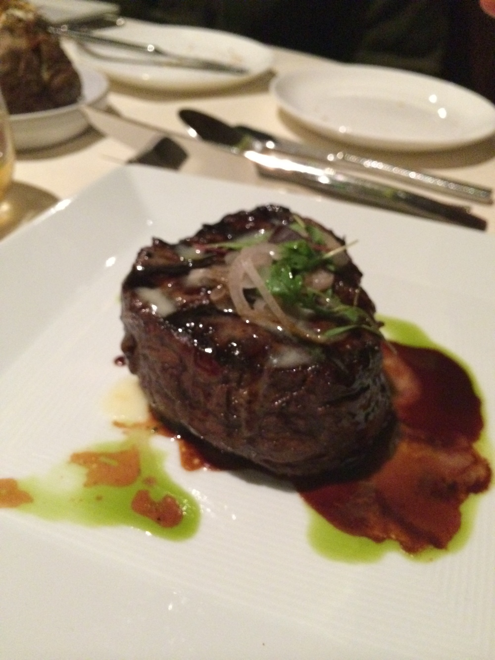 A shot of Vicky's filet mignon. A beautiful piece of meat.
