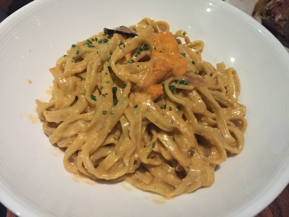 Truffle uni pasta with hand cut noodles