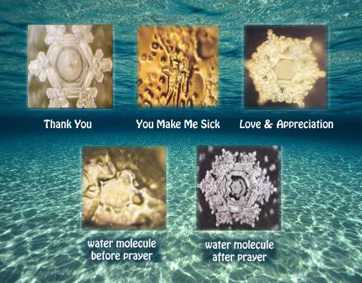 Photos of water molecule structure with a) positive and negative thoughts and b) before and after prayer. From  The Messages of Water  by Masaru Emoto