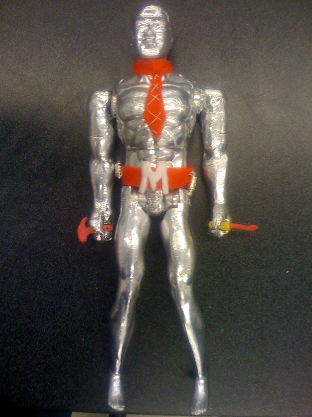 I made this aluminum action figure in high school