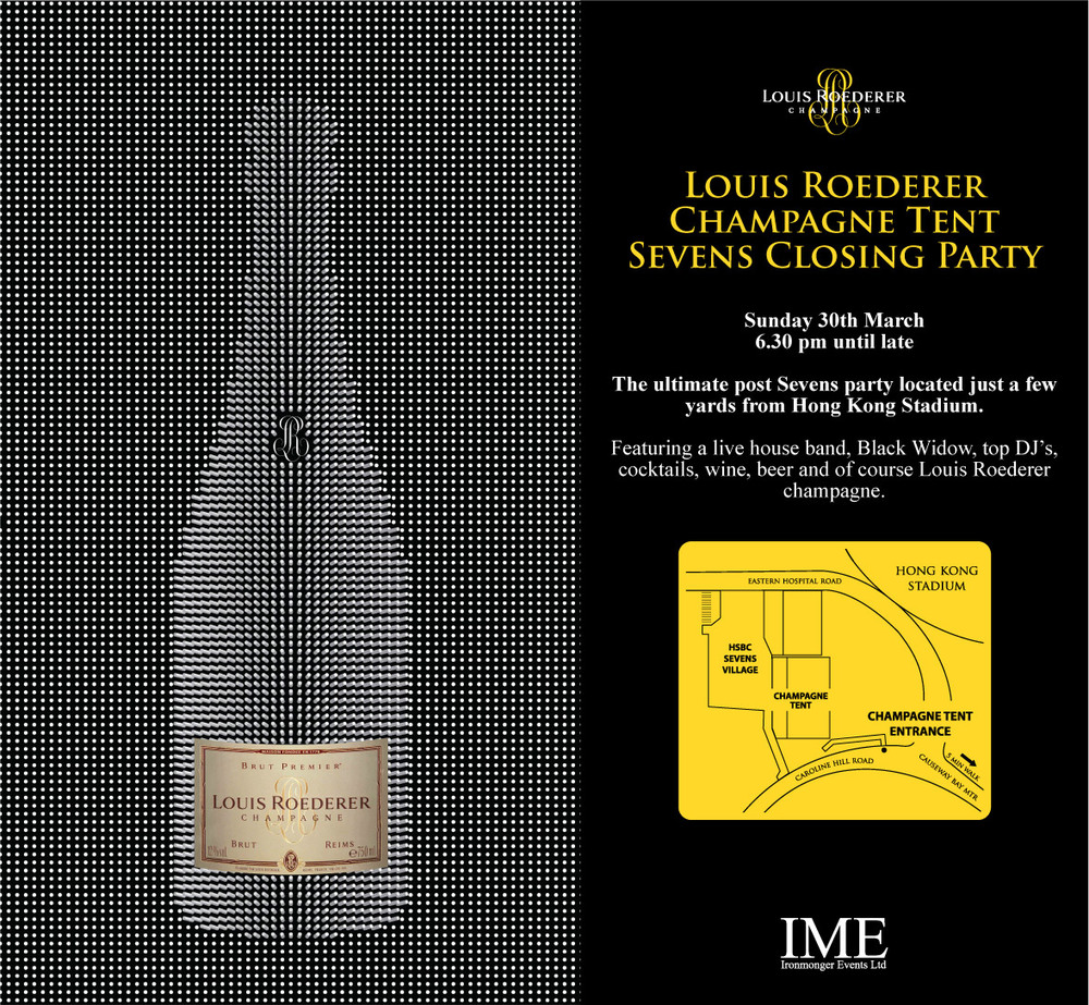 "Do you want to have a wonderful Sunday evening on 30th March? Merci Magazine is now offering Hong Kong readers some entrance passes to the Louis Roederer Champagne Tent Sevens Closing Party by simply answering the following question. ""When is the Hong Kong Sevens held in Hong Kong Stadium this year?"" Please send your answer to giveaway@merci-magazine.com. 5 readers with quickest and correct answers will be offered a pair of passes. The competition will start on 12th March 09:00 HongKong time and end on 13th March 23:59. Result will be announced here on 14th March. Winners will be informed and contacted individually. Act fast and good luck!"