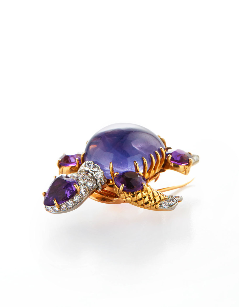 A diamond, Sapphire and Amethyst Turtle Brooch, by Cartier