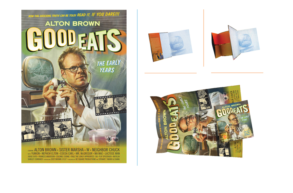 Good Eats poster jacket -  Each Good Eats book featured a themed give away, for this volume a fold-out book jacket/poster