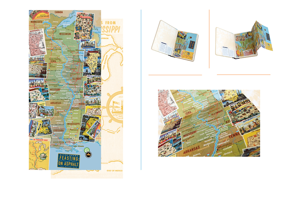 Fold-out map -  Map of the Mississippi river featuring vintage tourist postcards from along the route
