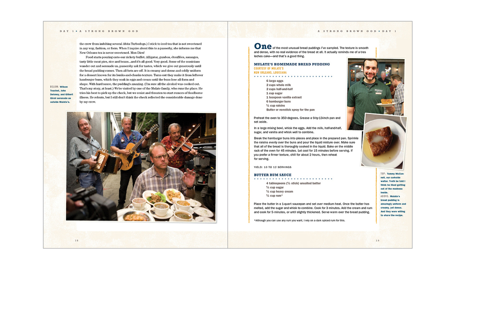Recipe spread -  Atmosphere photos, pages edged with gravel texture, informal food shots