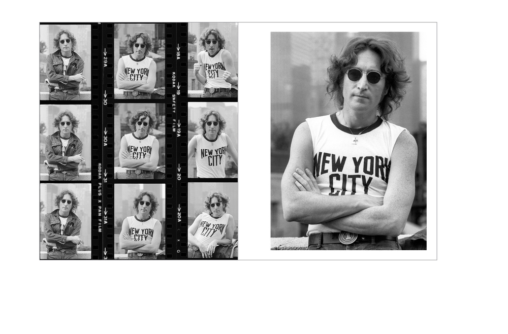 Typical spread -  John Lennon contact sheet and selected photo