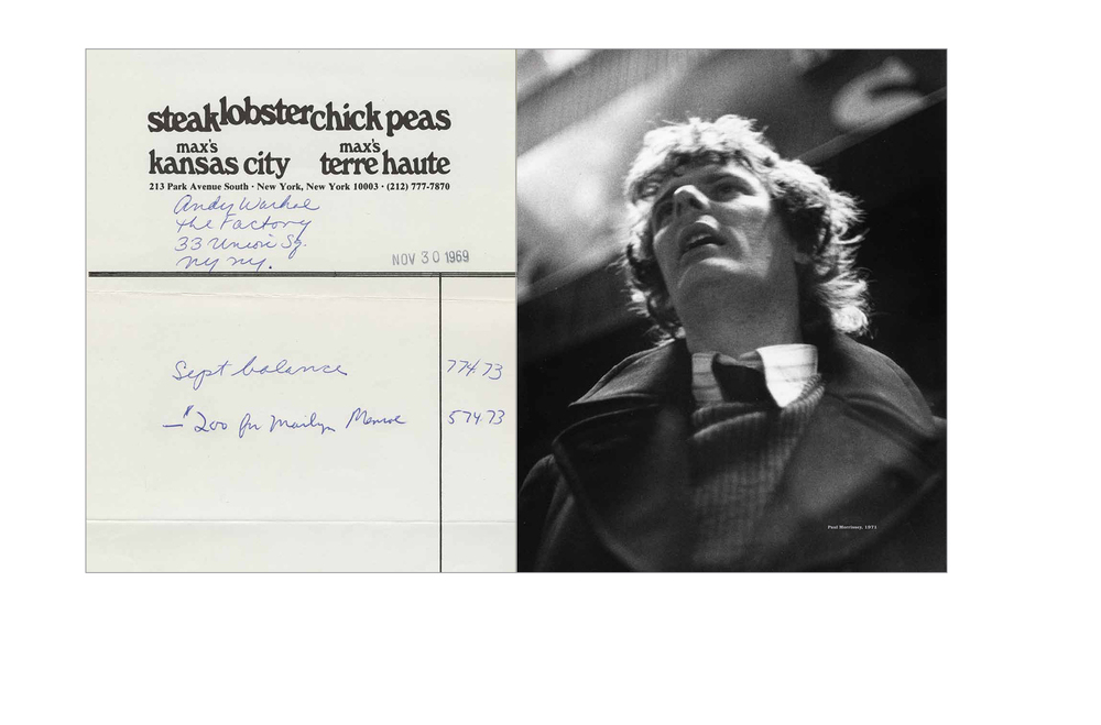 Ephemera spread -  Account statement for Andy Warhol's Factory, Paul Morrissey