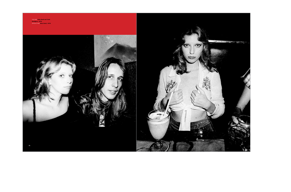Typical spread -  Red and black panels are used to avoid cropping but allow for full bleed images, Bebe Buell and Todd Rundgren