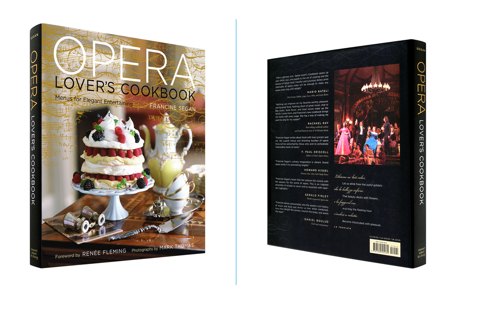 Opera Lover's Cookbook -  9 X 10 in., 224 pg., hardcover with metallic gold ink. Design; Galen Smith, LeAnna Weller Smith // Publisher; Stewart, Tabori & Chang
