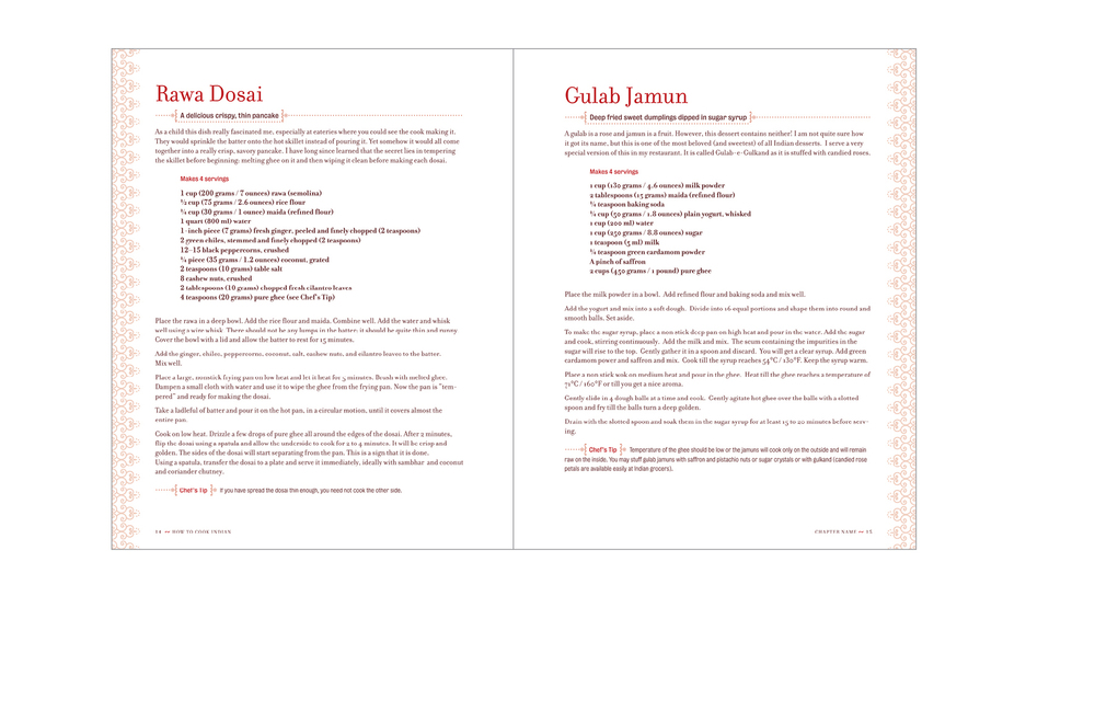 Typical spread -  One recipe per page with tinted border treatment