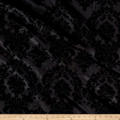 Black Flocked Damask Taffeta