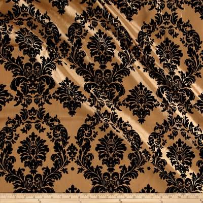 Gold Flocked Damask Taffeta