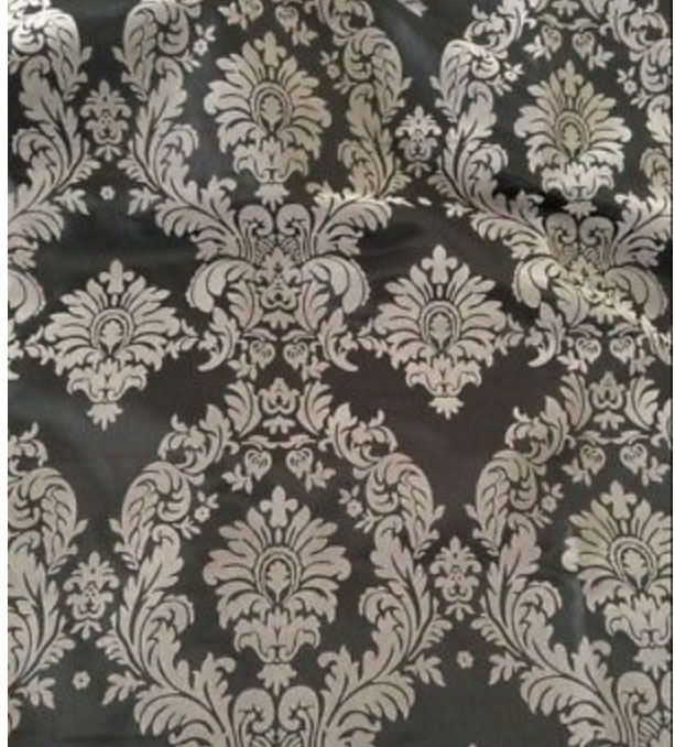 Grey Flocked Damask Taffeta