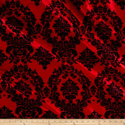 Red Flocked Damask Taffeta