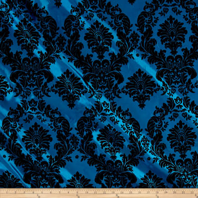 Teal Flocked Damask Taffeta