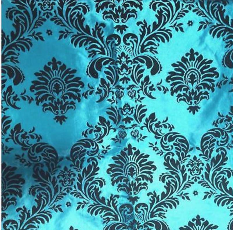 Turquoise Flocked Damask Taffeta