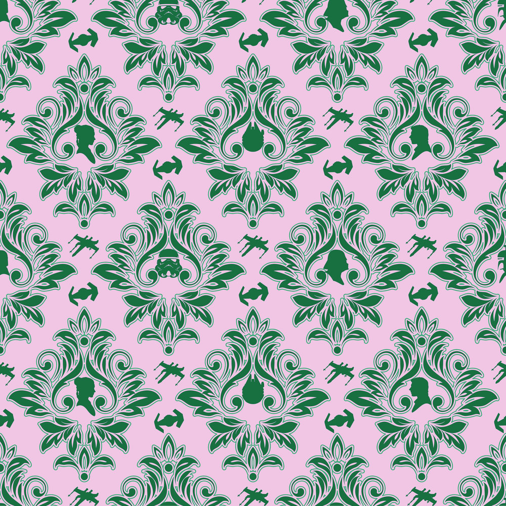 Star Wars damask pink and green