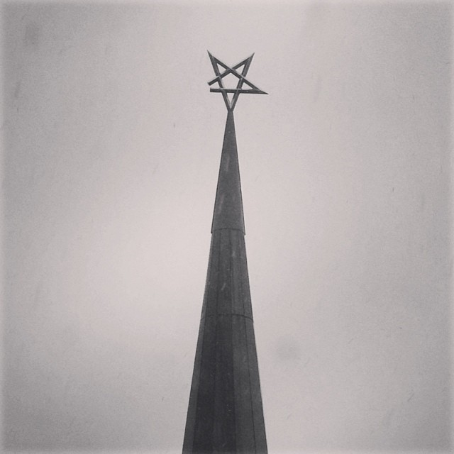 Star on top of the spire at our office building