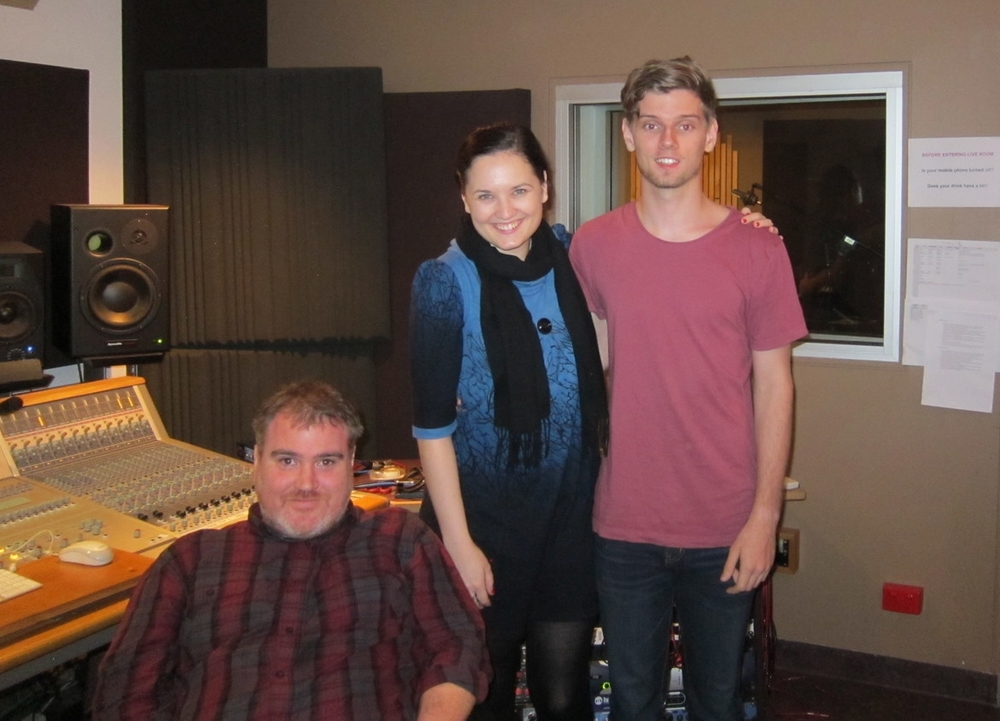 Producer Craig McCollough, me, and engineer Jake Tomlins, trying to stay awake after our midnight recording session!