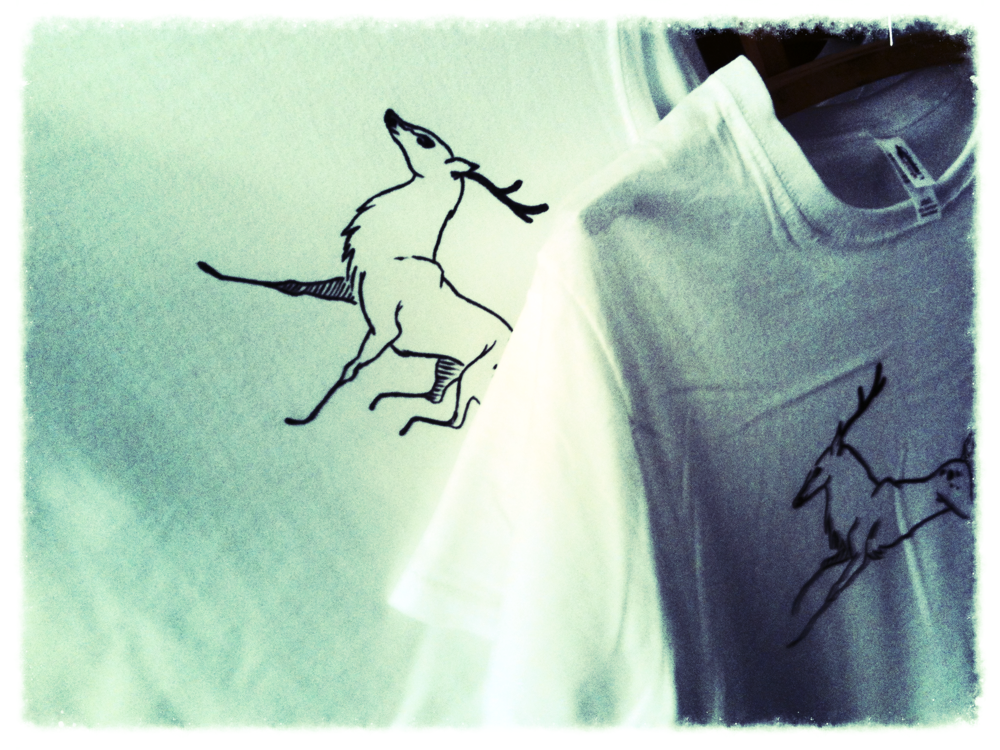 The deer illustrations that Paul and Jenni hand drew on plain white t-shirts. My favourites!