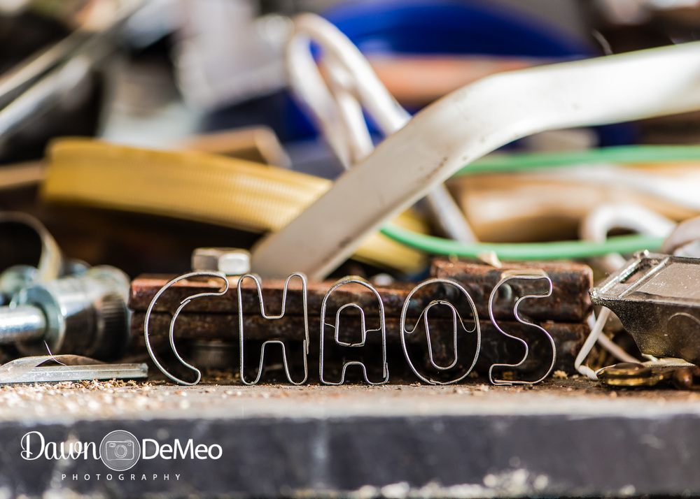 "Day 35 - Feb 4: Chaos. ""Chaos"" certainly describes the workshop area of our basement!"