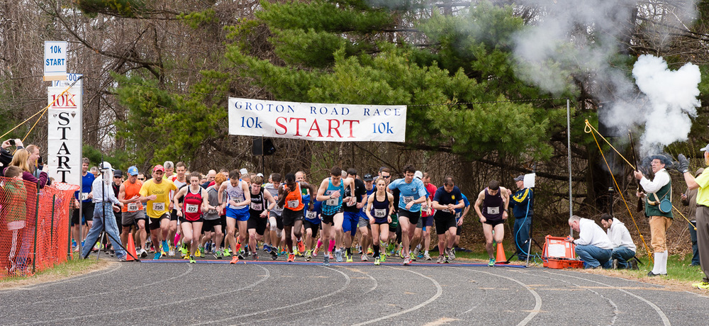 The starting line for the 10K racers.