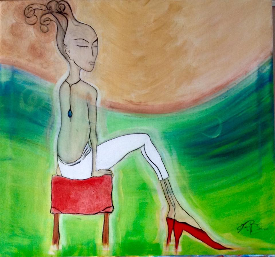 """Stiletto"" Oil painting by Maria Bovin de Labbé 2015."