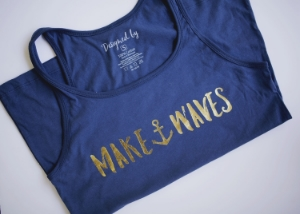 Makes Waves | $30.00 | Nautical Blue + RTS Anthem = Your Summer Pick Me Up. Set sail this Summer in this lightweight, soft cotton tank that will sure keep you afloat with encouraging words. Now, go 'Make Waves.'
