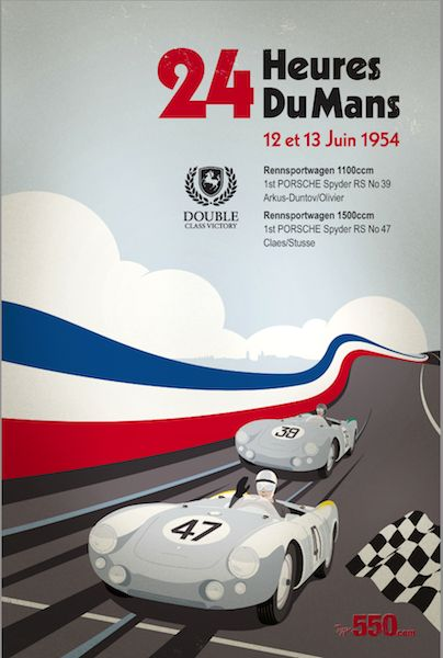 A vintage poster from the 1954 24h Race. Love that car. Image via  here.