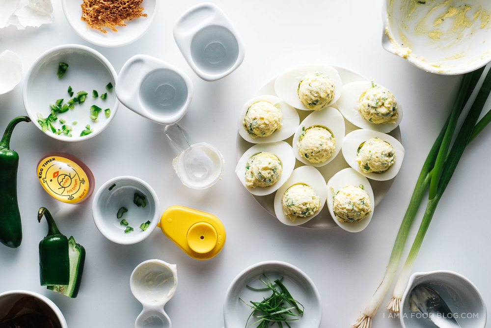 "Jalapeno Popper Deviled Eggs. The recipe via  ""I am a food blog""."